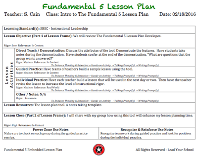 the fundamental 5 lesson plan developer lead your school