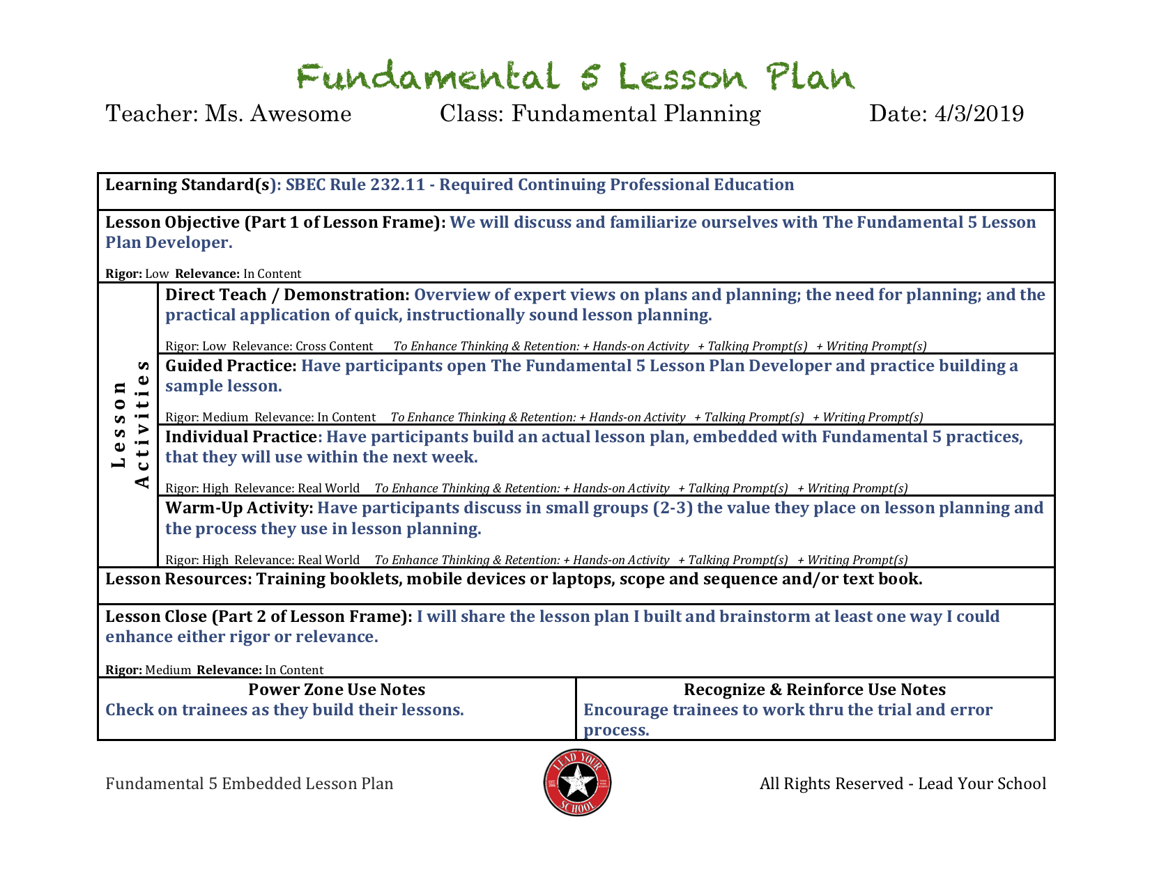 A Reader Asks    Fundamental 5 Resources - Lead Your School